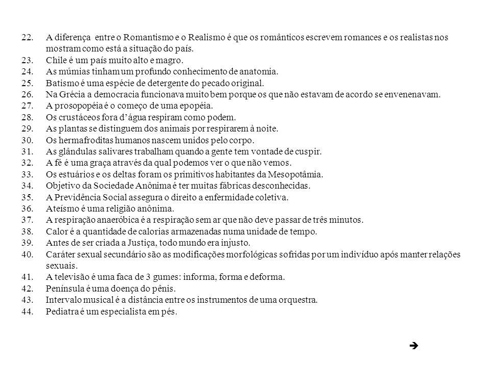Veja algumas respostas geniais tiradas de provas do vestibular da UFRJ em 1999. Fonte: Jornal do Brasil 1.Lavoisier foi guilhotinado por ter inventado