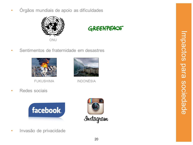 20 Órgãos mundiais de apoio as dificuldades Sentimentos de fraternidade em desastres Redes sociais Invasão de privacidade Impactos para sociedade ONU FUKUSHIMAINDONÉSIA