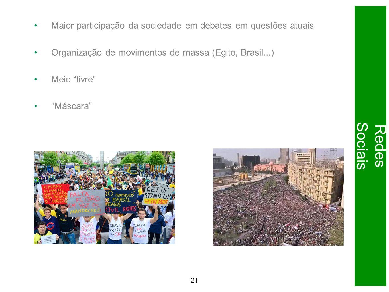 Maior participação da sociedade em debates em questões atuais Organização de movimentos de massa (Egito, Brasil...) Meio livre Máscara 21 Redes Sociais