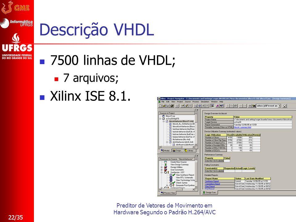 Preditor de Vetores de Movimento em Hardware Segundo o Padrão H.264/AVC 22/35 Descrição VHDL 7500 linhas de VHDL; 7 arquivos; Xilinx ISE 8.1.