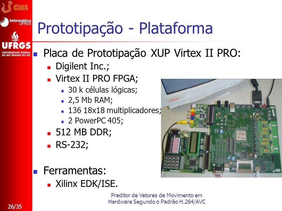 Preditor de Vetores de Movimento em Hardware Segundo o Padrão H.264/AVC 26/35 Prototipação - Plataforma Placa de Prototipação XUP Virtex II PRO: Digil