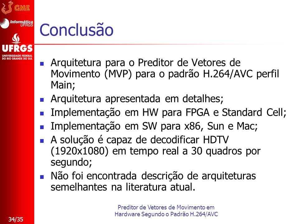 Preditor de Vetores de Movimento em Hardware Segundo o Padrão H.264/AVC 34/35 Conclusão Arquitetura para o Preditor de Vetores de Movimento (MVP) para