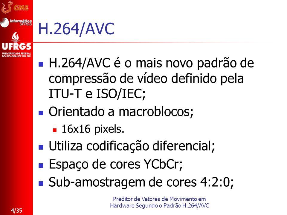 Preditor de Vetores de Movimento em Hardware Segundo o Padrão H.264/AVC 4/35 H.264/AVC H.264/AVC é o mais novo padrão de compressão de vídeo definido