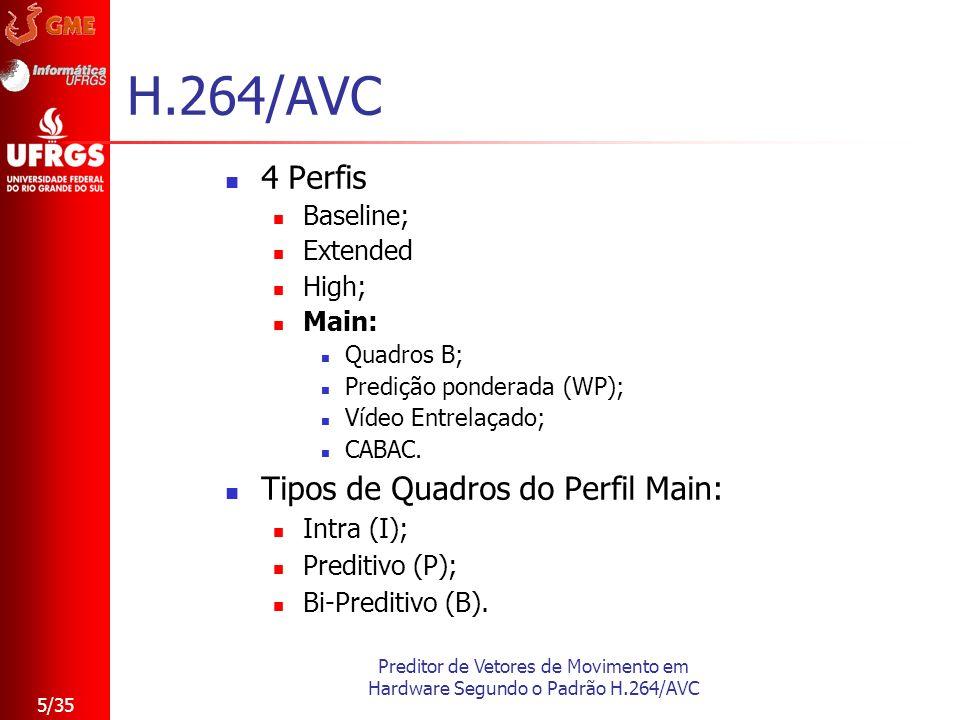 Preditor de Vetores de Movimento em Hardware Segundo o Padrão H.264/AVC 5/35 H.264/AVC 4 Perfis Baseline; Extended High; Main: Quadros B; Predição pon