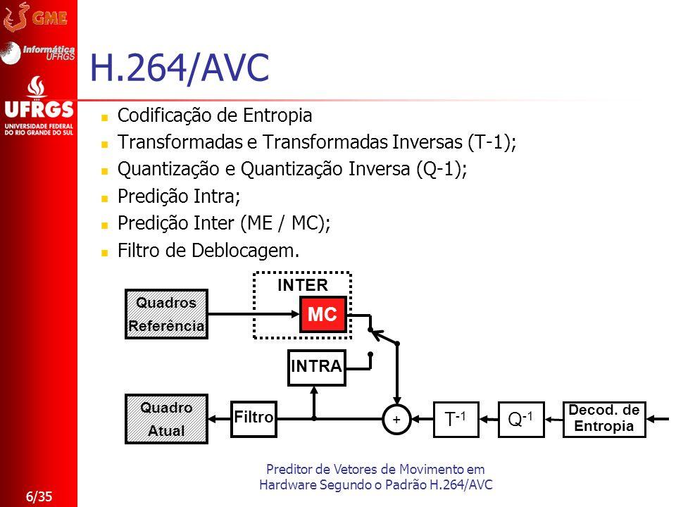 Preditor de Vetores de Movimento em Hardware Segundo o Padrão H.264/AVC 6/35 H.264/AVC Codificação de Entropia Transformadas e Transformadas Inversas