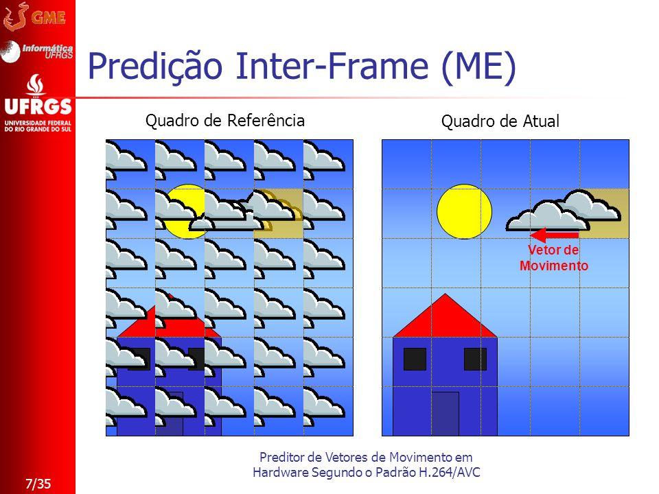 Preditor de Vetores de Movimento em Hardware Segundo o Padrão H.264/AVC 7/35 Predição Inter-Frame (ME) Vetor de Movimento Quadro de Referência Quadro
