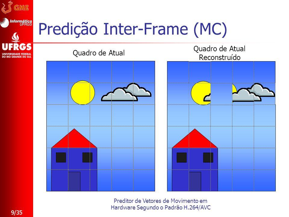Preditor de Vetores de Movimento em Hardware Segundo o Padrão H.264/AVC 9/35 Predição Inter-Frame (MC) Quadro de Atual Quadro de Atual Reconstruído