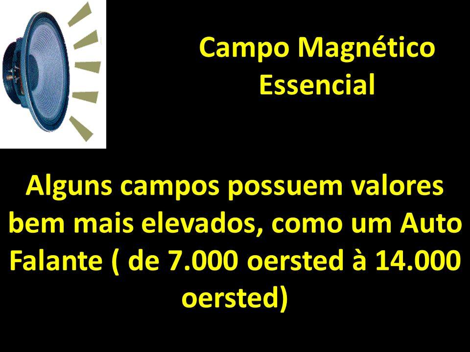 Campo Magnético Essencial Alguns campos possuem valores bem mais elevados, como um Auto Falante ( de 7.000 oersted à 14.000 oersted)