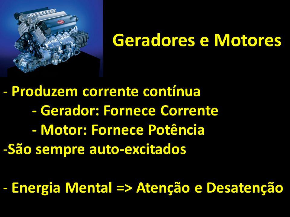 Geradores e Motores - Produzem corrente contínua - Gerador: Fornece Corrente - Motor: Fornece Potência -São sempre auto-excitados - Energia Mental =>