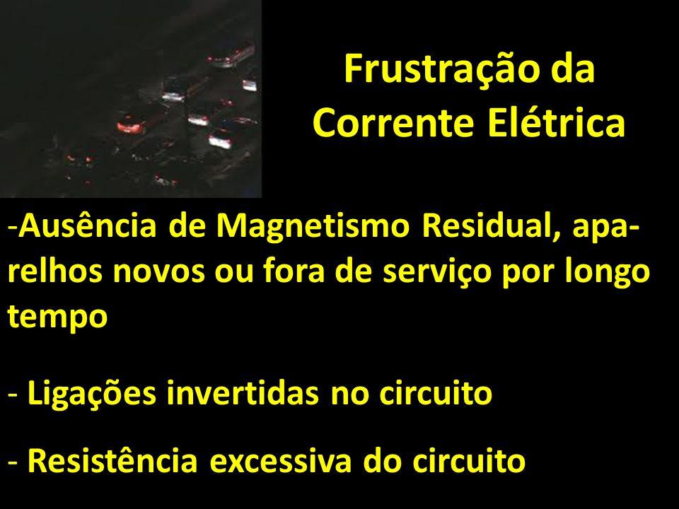 Frustração da Corrente Elétrica -Ausência de Magnetismo Residual, apa- relhos novos ou fora de serviço por longo tempo - Ligações invertidas no circui