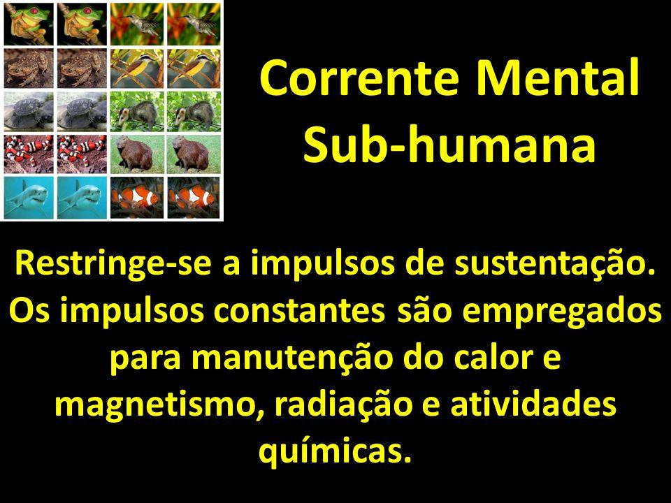 Corrente Mental Sub-humana Restringe-se a impulsos de sustentação. Os impulsos constantes são empregados para manutenção do calor e magnetismo, radiaç