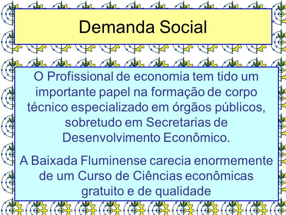 Demanda Social O Profissional de economia tem tido um importante papel na formação de corpo técnico especializado em órgãos públicos, sobretudo em Sec