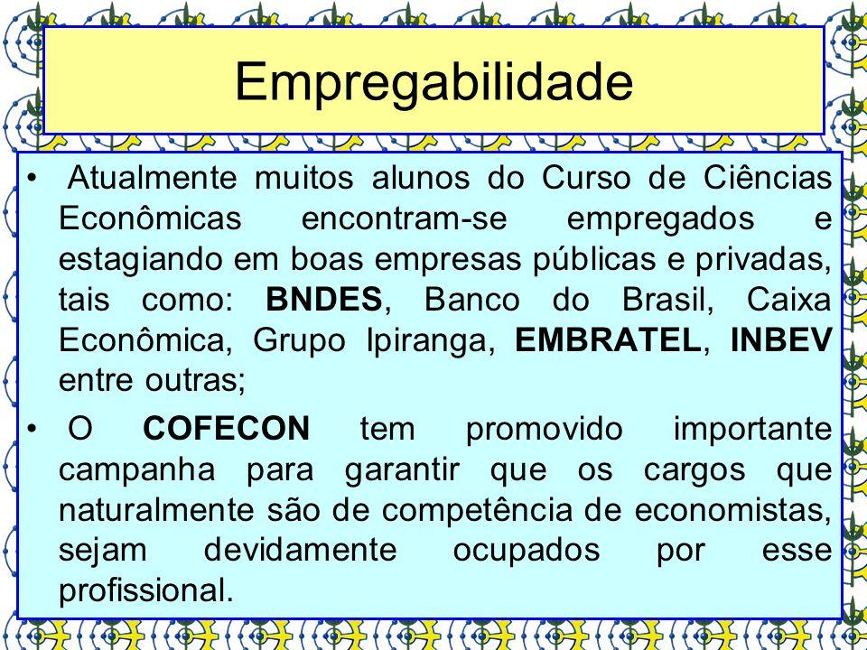Atualmente muitos alunos do Curso de Ciências Econômicas encontram-se empregados e estagiando em boas empresas públicas e privadas, tais como: BNDES,