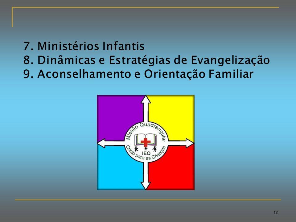 10 7.Ministérios Infantis 8. Dinâmicas e Estratégias de Evangelização 9.