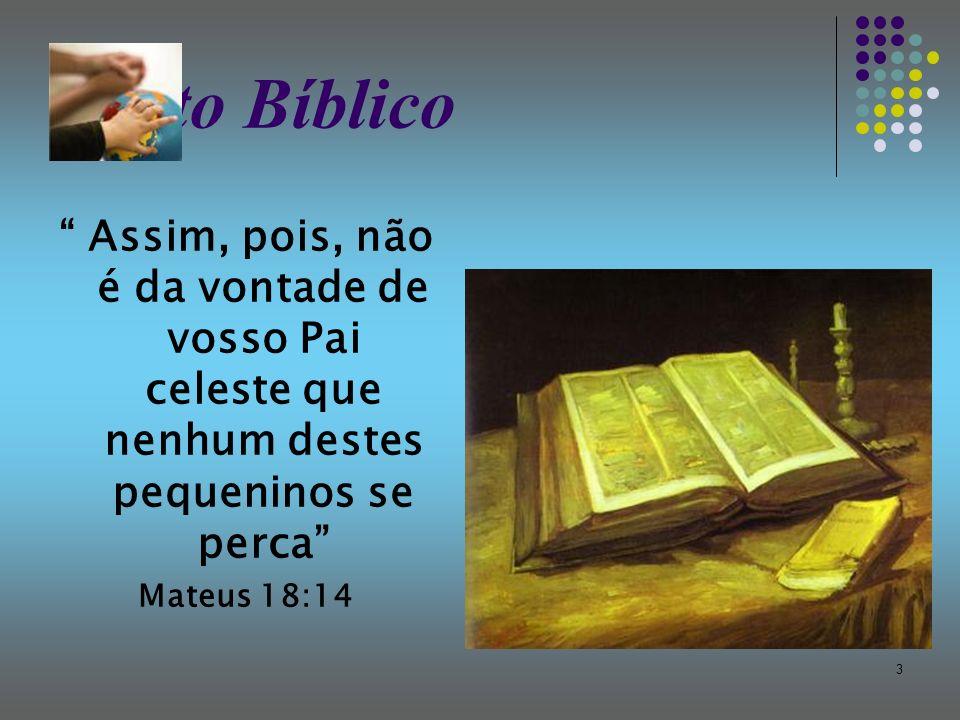 3 Texto Bíblico Assim, pois, não é da vontade de vosso Pai celeste que nenhum destes pequeninos se perca Mateus 18:14