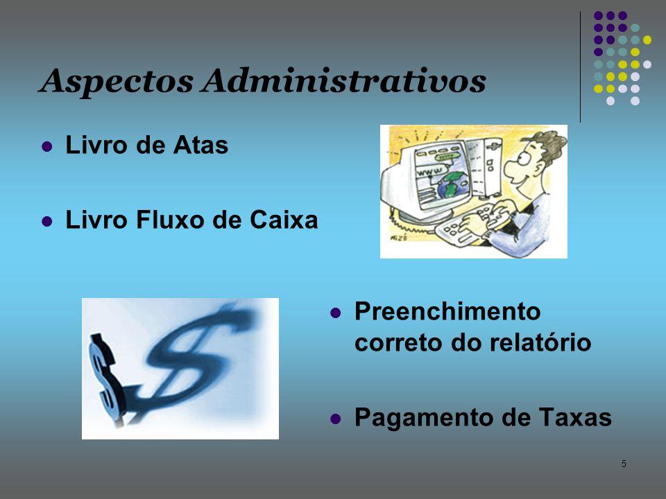 5 Aspectos Administrativos Livro de Atas Livro Fluxo de Caixa Preenchimento correto do relatório Pagamento de Taxas
