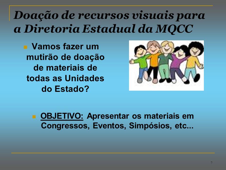 7 Doação de recursos visuais para a Diretoria Estadual da MQCC Vamos fazer um mutirão de doação de materiais de todas as Unidades do Estado.