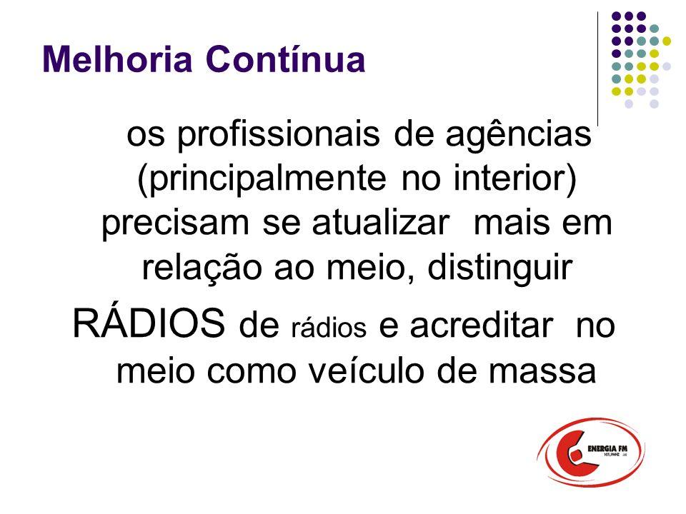 Melhoria Contínua os profissionais de agências (principalmente no interior) precisam se atualizar mais em relação ao meio, distinguir RÁDIOS de rádios