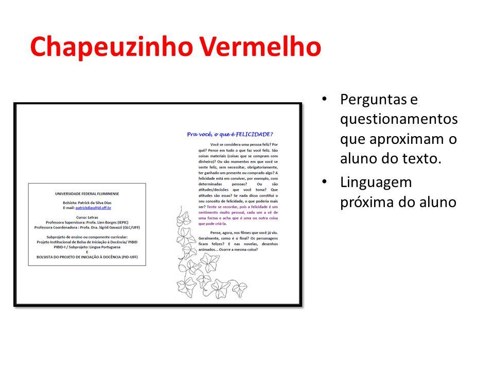 Chapeuzinho Vermelho Perguntas e questionamentos que aproximam o aluno do texto. Linguagem próxima do aluno