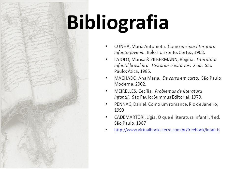 Bibliografia CUNHA, Maria Antonieta. Como ensinar literatura infanto-juvenil. Belo Horizonte: Cortez, 1968. LAJOLO, Marisa & ZILBERMANN, Regina. Liter