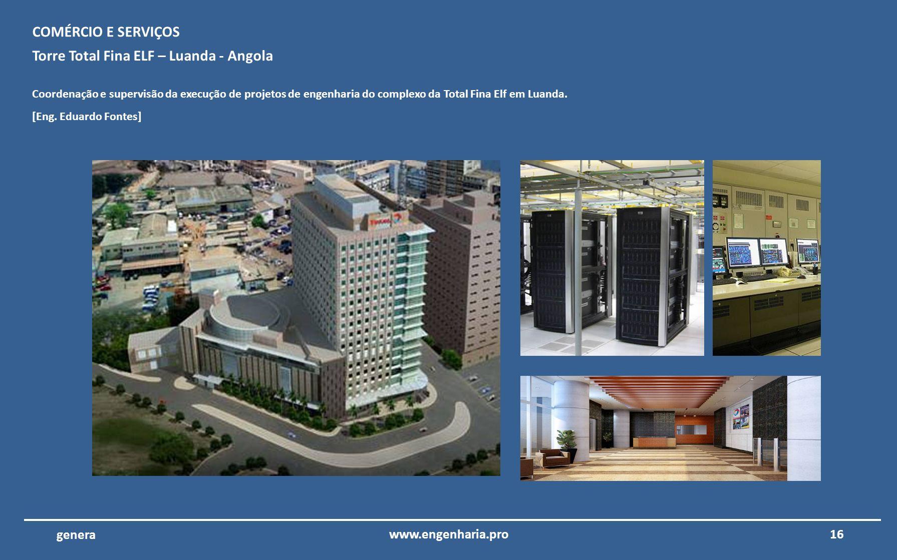 15www.engenharia.pro genera Aeroporto Internacional do Algarve – Faro – ANA Coordenação e supervisão da execução de projetos de engenharia da reconstr