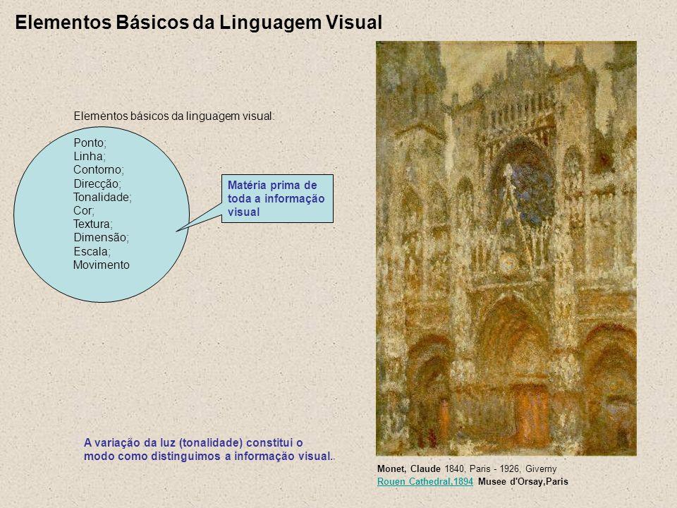 Elementos Básicos da Linguagem Visual A variação da luz (tonalidade) constitui o modo como distinguimos a informação visual. Monet, Claude 1840, Paris