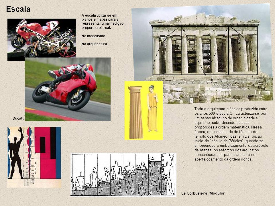 Ducatti A escala utiliza-se em planos e mapas para a representar uma medição proporcional real. No modelismo. Na arquitectura. Escala Le Corbusier's '