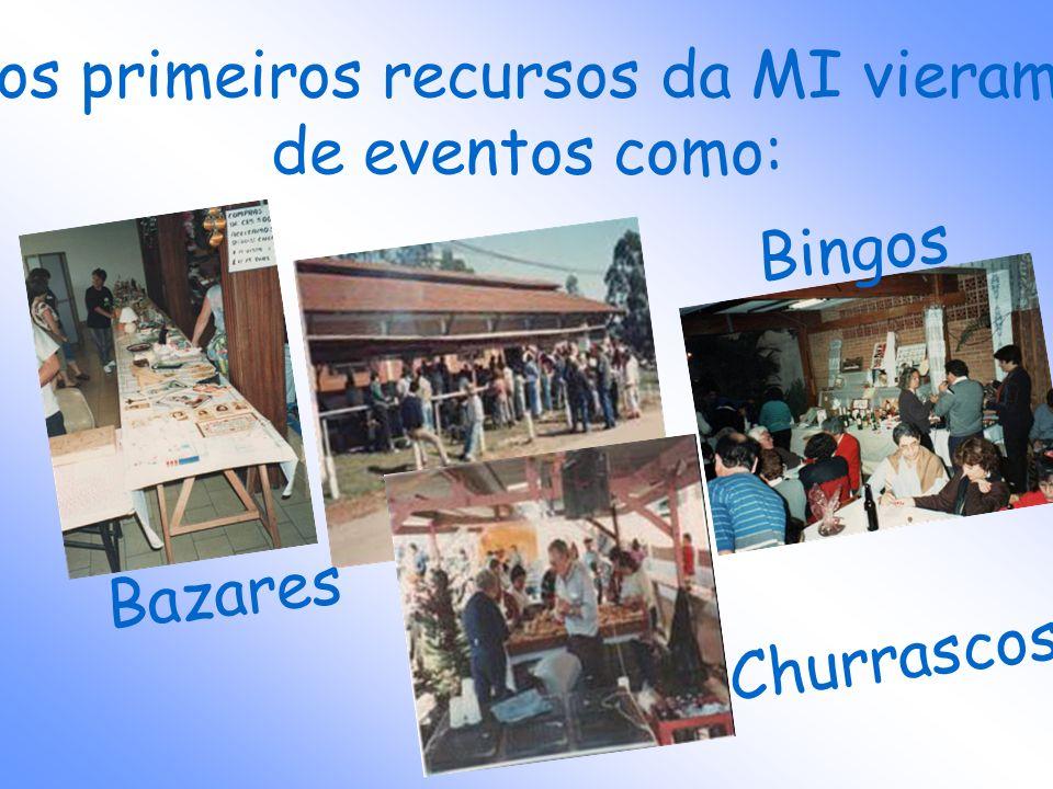 os primeiros recursos da MI vieram de eventos como: Bingos Bazares Churrascos