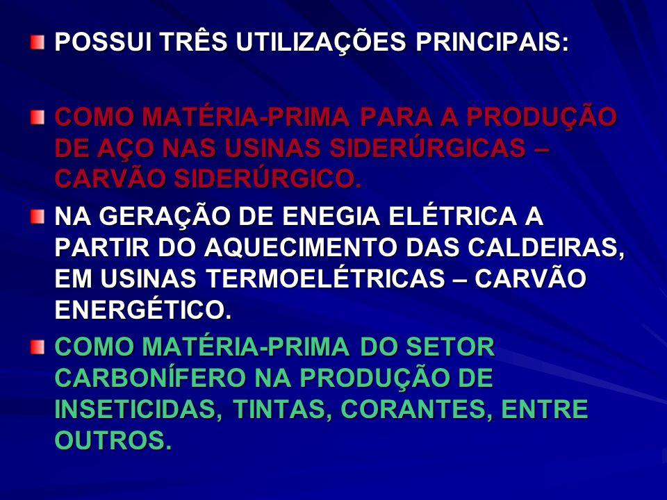 POSSUI TRÊS UTILIZAÇÕES PRINCIPAIS: COMO MATÉRIA-PRIMA PARA A PRODUÇÃO DE AÇO NAS USINAS SIDERÚRGICAS – CARVÃO SIDERÚRGICO.