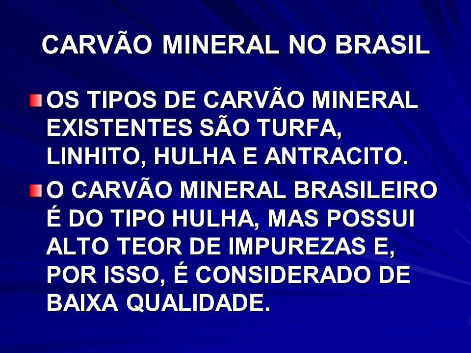 CARVÃO MINERAL NO BRASIL OS TIPOS DE CARVÃO MINERAL EXISTENTES SÃO TURFA, LINHITO, HULHA E ANTRACITO.
