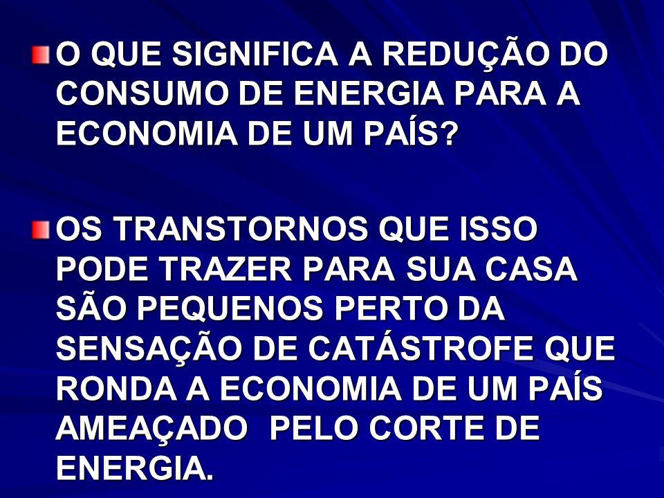 O QUE SIGNIFICA A REDUÇÃO DO CONSUMO DE ENERGIA PARA A ECONOMIA DE UM PAÍS.