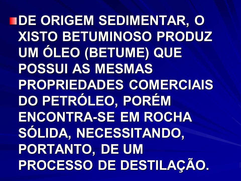 DE ORIGEM SEDIMENTAR, O XISTO BETUMINOSO PRODUZ UM ÓLEO (BETUME) QUE POSSUI AS MESMAS PROPRIEDADES COMERCIAIS DO PETRÓLEO, PORÉM ENCONTRA-SE EM ROCHA SÓLIDA, NECESSITANDO, PORTANTO, DE UM PROCESSO DE DESTILAÇÃO.