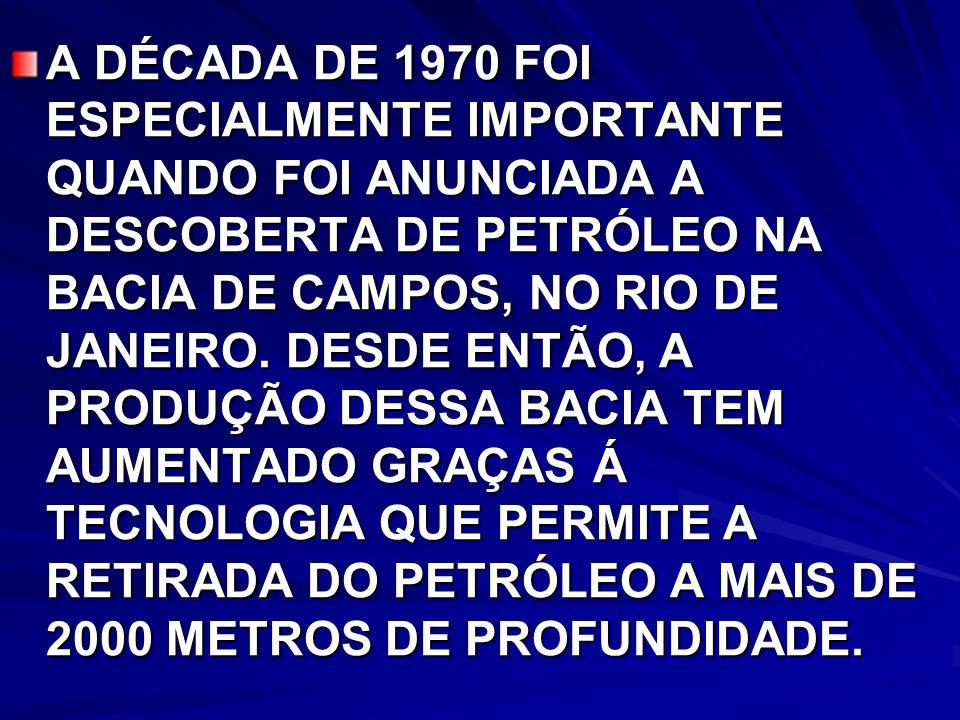 A DÉCADA DE 1970 FOI ESPECIALMENTE IMPORTANTE QUANDO FOI ANUNCIADA A DESCOBERTA DE PETRÓLEO NA BACIA DE CAMPOS, NO RIO DE JANEIRO.