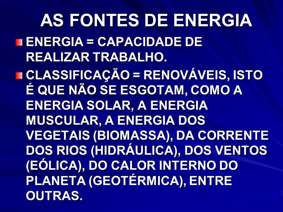 AS FONTES DE ENERGIA ENERGIA = CAPACIDADE DE REALIZAR TRABALHO.
