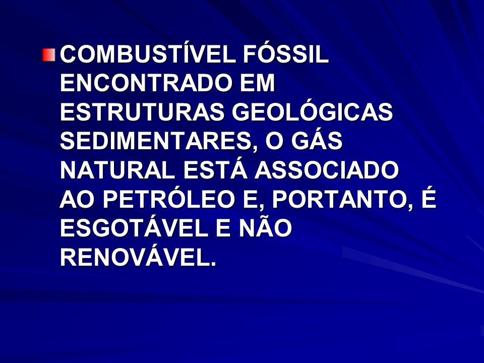 COMBUSTÍVEL FÓSSIL ENCONTRADO EM ESTRUTURAS GEOLÓGICAS SEDIMENTARES, O GÁS NATURAL ESTÁ ASSOCIADO AO PETRÓLEO E, PORTANTO, É ESGOTÁVEL E NÃO RENOVÁVEL.