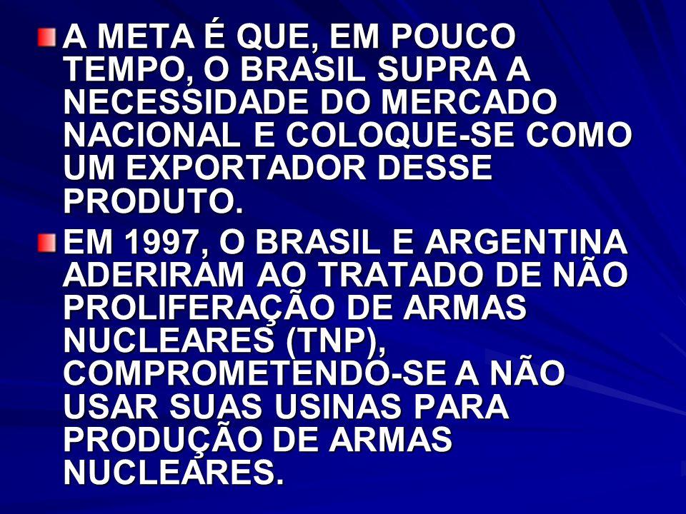 A META É QUE, EM POUCO TEMPO, O BRASIL SUPRA A NECESSIDADE DO MERCADO NACIONAL E COLOQUE-SE COMO UM EXPORTADOR DESSE PRODUTO.