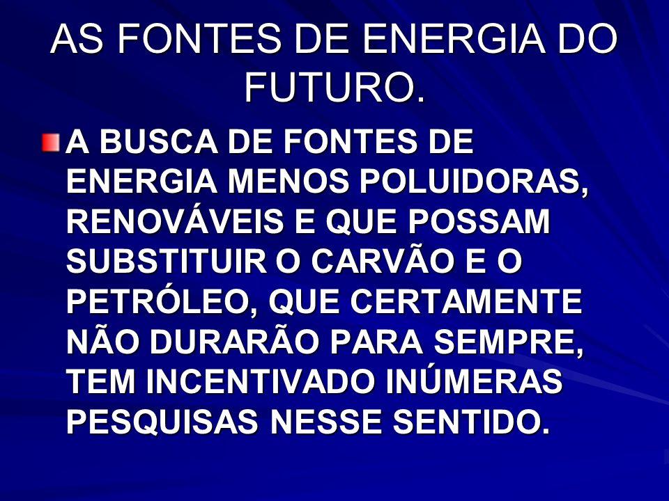 AS FONTES DE ENERGIA DO FUTURO.