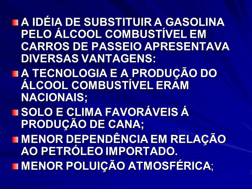A IDÉIA DE SUBSTITUIR A GASOLINA PELO ÁLCOOL COMBUSTÍVEL EM CARROS DE PASSEIO APRESENTAVA DIVERSAS VANTAGENS: A TECNOLOGIA E A PRODUÇÃO DO ÁLCOOL COMBUSTÍVEL ERAM NACIONAIS; SOLO E CLIMA FAVORÁVEIS Á PRODUÇÃO DE CANA; MENOR DEPENDÊNCIA EM RELAÇÃO AO PETRÓLEO IMPORTADO.