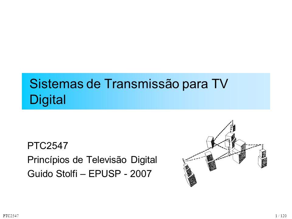 PTC254742 / 120 Espectro do Sinal OFDM Espaçamento 1 / T U K Portadoras Independentes Banda Total Ocupada Banda de cada Portadora ff TUTU TSTS Modulação de cada Portadora
