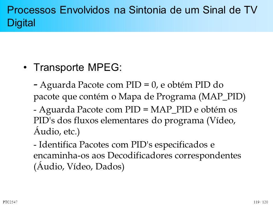 PTC2547119 / 120 Processos Envolvidos na Sintonia de um Sinal de TV Digital Transporte MPEG: - Aguarda Pacote com PID = 0, e obtém PID do pacote que contém o Mapa de Programa (MAP_PID) - Aguarda Pacote com PID = MAP_PID e obtém os PID s dos fluxos elementares do programa (Vídeo, Áudio, etc.) - Identifica Pacotes com PID s especificados e encaminha-os aos Decodificadores correspondentes (Áudio, Vídeo, Dados)