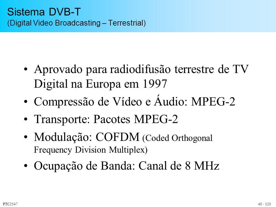 PTC254740 / 120 Sistema DVB-T (Digital Video Broadcasting – Terrestrial) Aprovado para radiodifusão terrestre de TV Digital na Europa em 1997 Compressão de Vídeo e Áudio: MPEG-2 Transporte: Pacotes MPEG-2 Modulação: COFDM (Coded Orthogonal Frequency Division Multiplex) Ocupação de Banda: Canal de 8 MHz