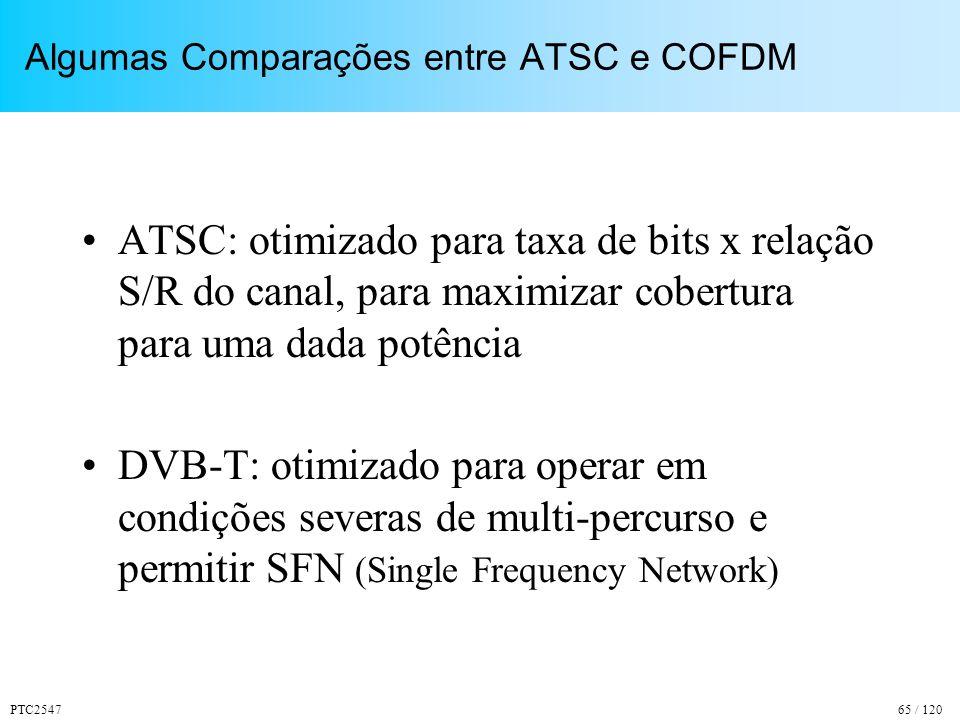 PTC254765 / 120 Algumas Comparações entre ATSC e COFDM ATSC: otimizado para taxa de bits x relação S/R do canal, para maximizar cobertura para uma dada potência DVB-T: otimizado para operar em condições severas de multi-percurso e permitir SFN (Single Frequency Network)