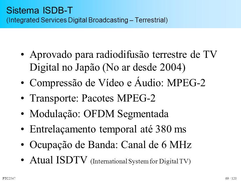 PTC254769 / 120 Sistema ISDB-T (Integrated Services Digital Broadcasting – Terrestrial) Aprovado para radiodifusão terrestre de TV Digital no Japão (No ar desde 2004) Compressão de Vídeo e Áudio: MPEG-2 Transporte: Pacotes MPEG-2 Modulação: OFDM Segmentada Entrelaçamento temporal até 380 ms Ocupação de Banda: Canal de 6 MHz Atual ISDTV (International System for Digital TV)