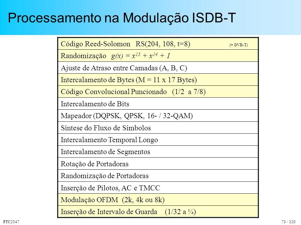 PTC254773 / 120 Processamento na Modulação ISDB-T Código Reed-Solomon RS(204, 108, t=8) (= DVB-T) Randomização g(x) = x 15 + x 14 + 1 Ajuste de Atraso entre Camadas (A, B, C) Intercalamento de Bytes (M = 11 x 17 Bytes) Código Convolucional Puncionado (1/2 a 7/8) Intercalamento de Bits Mapeador (DQPSK, QPSK, 16- / 32-QAM) Síntese do Fluxo de Símbolos Intercalamento Temporal Longo Intercalamento de Segmentos Rotação de Portadoras Randomização de Portadoras Inserção de Pilotos, AC e TMCC Modulação OFDM (2k, 4k ou 8k) Inserção de Intervalo de Guarda (1/32 a ¼)