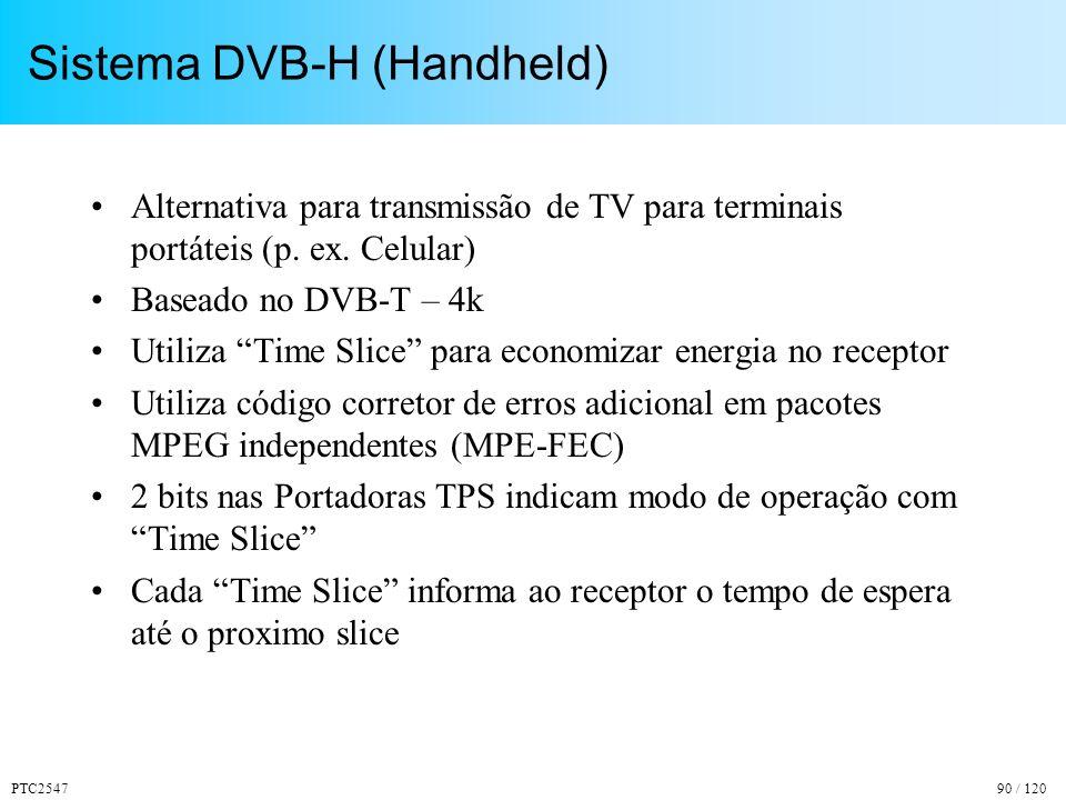 PTC254790 / 120 Sistema DVB-H (Handheld) Alternativa para transmissão de TV para terminais portáteis (p.