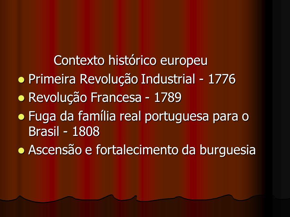 Contexto histórico europeu Contexto histórico europeu Primeira Revolução Industrial - 1776 Primeira Revolução Industrial - 1776 Revolução Francesa - 1
