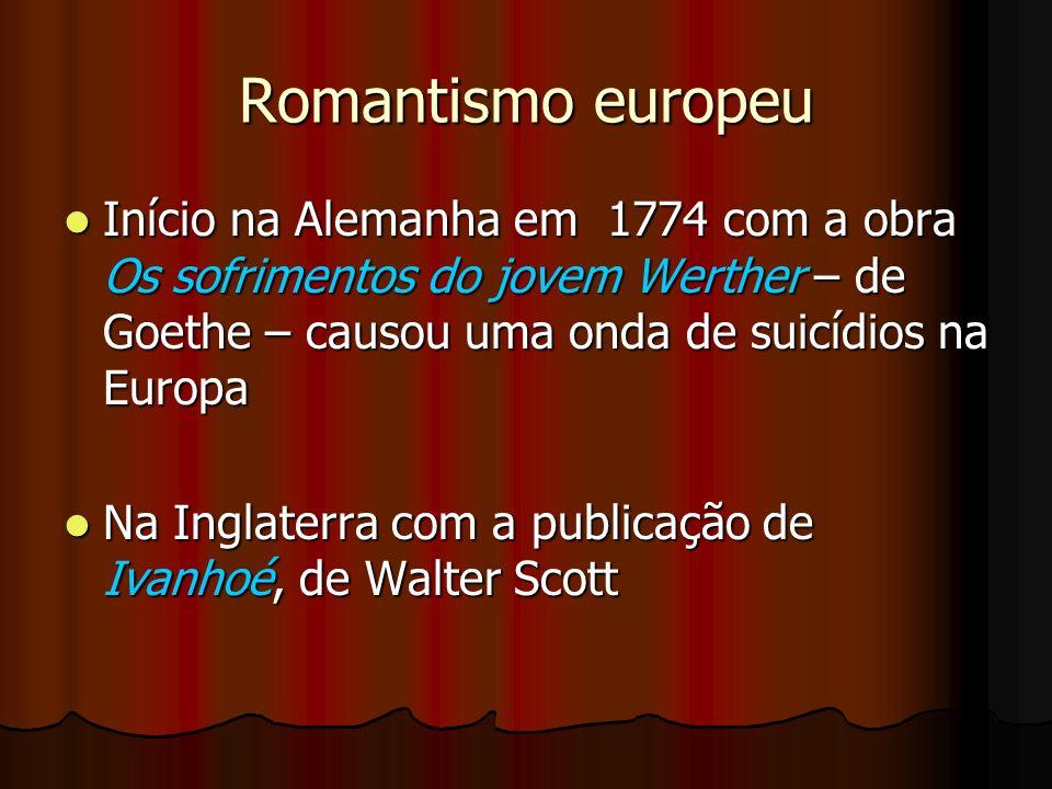 Romantismo europeu Início na Alemanha em 1774 com a obra Os sofrimentos do jovem Werther – de Goethe – causou uma onda de suicídios na Europa Início n