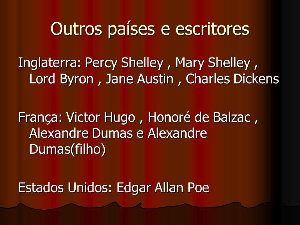 Outros países e escritores Inglaterra: Percy Shelley, Mary Shelley, Lord Byron, Jane Austin, Charles Dickens França: Victor Hugo, Honoré de Balzac, Al