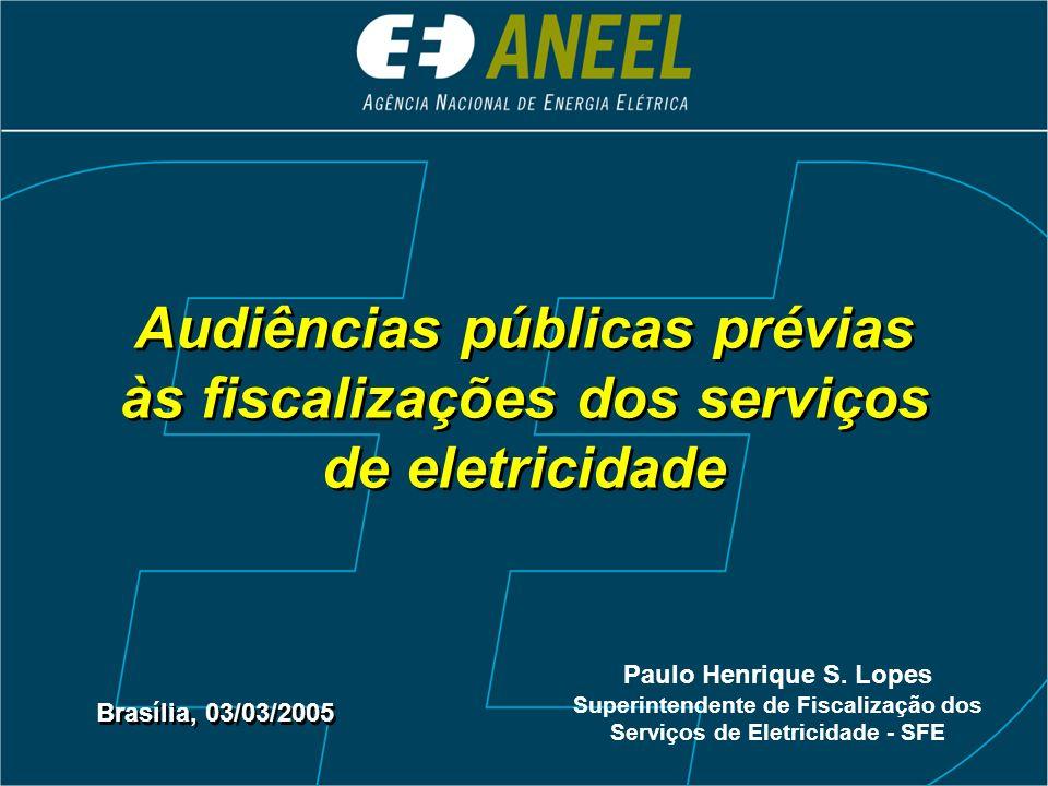 Audiências públicas prévias às fiscalizações dos serviços de eletricidade Brasília, 03/03/2005 Paulo Henrique S.