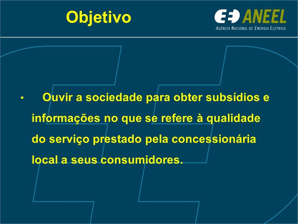 Objetivo Ouvir a sociedade para obter subsídios e informações no que se refere à qualidade do serviço prestado pela concessionária local a seus consumidores.
